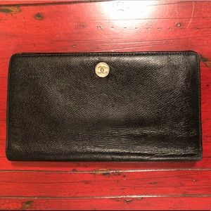 Chanel Black Leather Long Continental Wallet